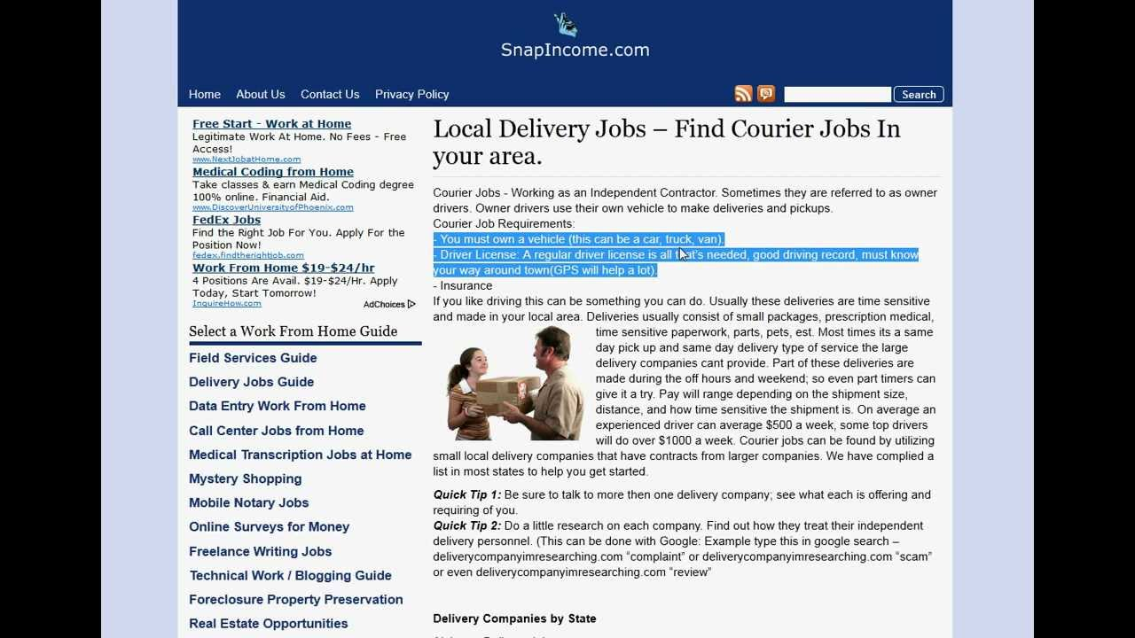 Delivery Jobs And Courier