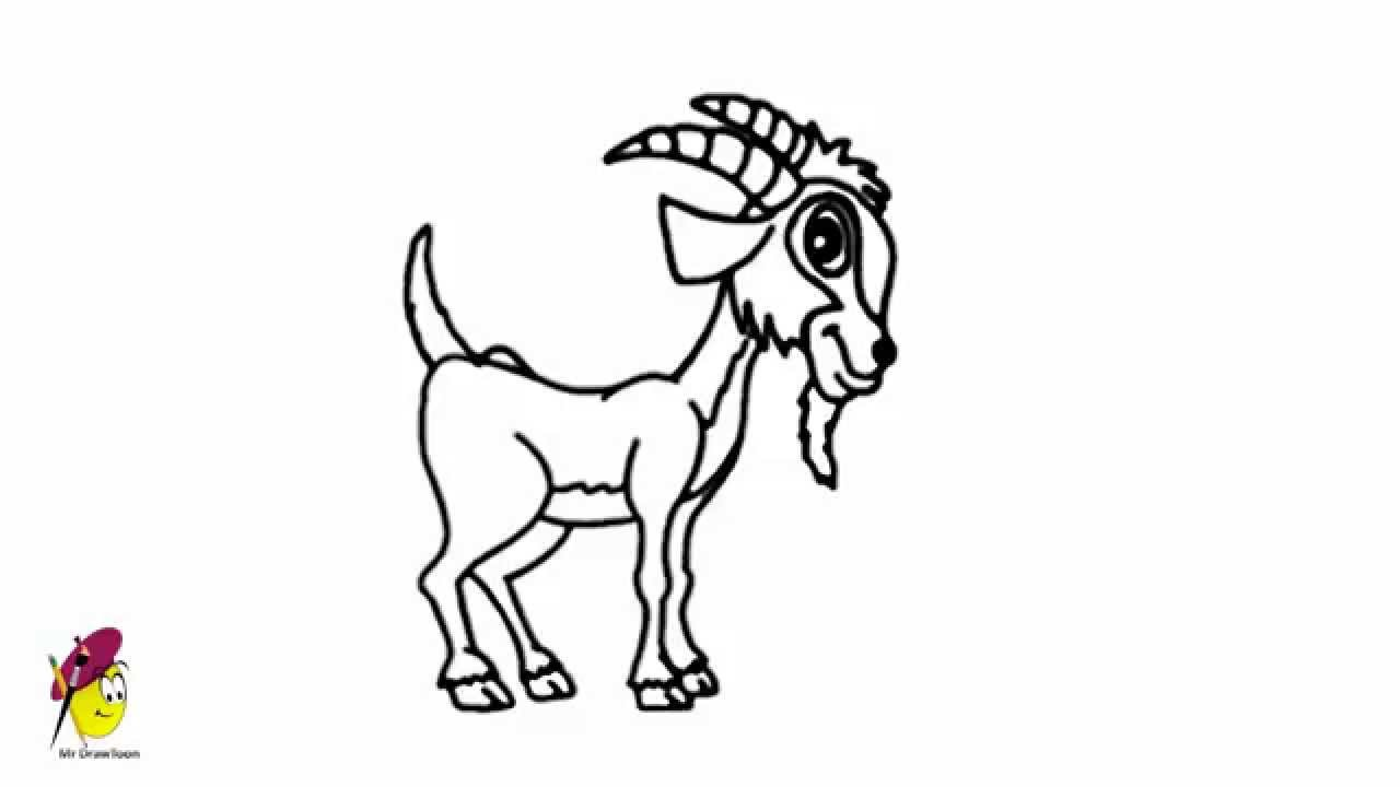 Farm Goat - Easy Drawing - How to draw a Goat -Farm animals