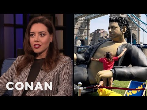 Aubrey Plaza Leapt On An Inflatable Jeff Goldblum - CONAN on TBS