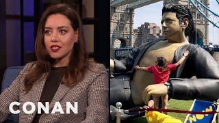 Aubrey Plaza Leapt On An Inflatable Jeff Goldblum - CONAN on TBS
