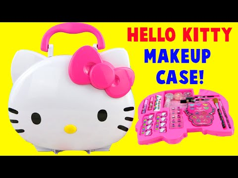 Hello Kitty Makeup Vanity Light Up Case! Lip Balm Glitter Tattoos Eyeshadow