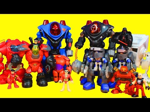 Imaginext Robot Wars with Iron Man Superman Big hero 6 Baymax Nightwing Star Wars Darth Vader