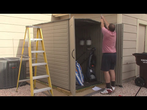 hinge modification for rubbermaid large storage shed