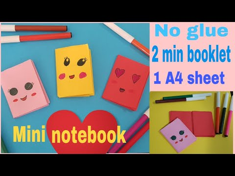 DIY Mini Notebook | How to make easy Notebook from One sheet of Paper | No Glue | Back To School |