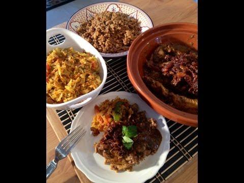 Kenya Meets Morocco (Kenyan Chicken Curry, Kenyan sauteed cabbage meets couscous and Tfaya)