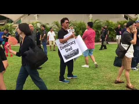 Silent protest at Hong Lim Park against reserved election
