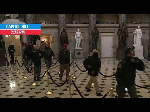 Rioters Walk Through Capitol Building, Statuary Hall Outside of House Chamber   MSNBC