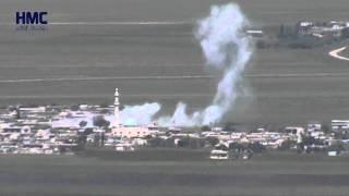 لحظة سقوط  ثلاث براميل في نفس اللحظة على قرية العنكاوي والعمقية وقرية قليدين 25 4 2015