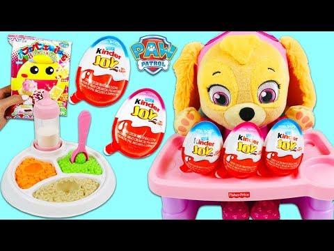 Paw Patrol Baby Skye Makes Japanese Candy Kit & Opens Kinder Joy Surprise Eggs!