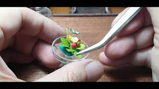 DIY Flower arrangement in a miniature cake glass dome for a dollhouse