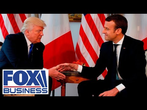 Trump meets with French Pres Macron after US threatens new tariffs