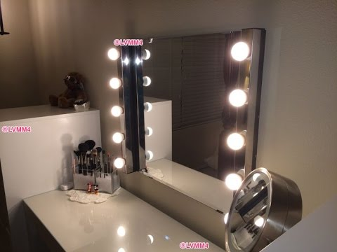 Dressing table mirror with lights ikea youtube for Dressing table with lights