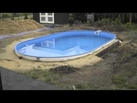 Ovaal youtube for Stalen zwembad inbouwen