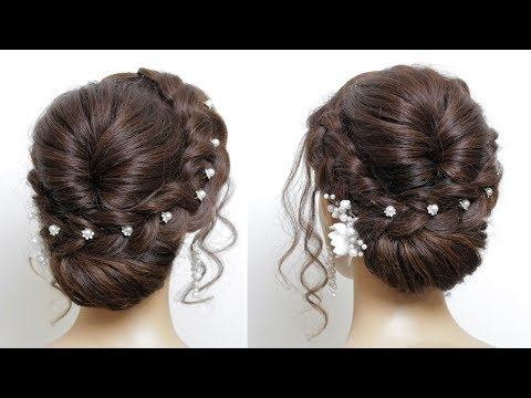 New Easy Bridal Hairstyle For Long Hair Tutorial. Simple Wedding Updo thumbnail