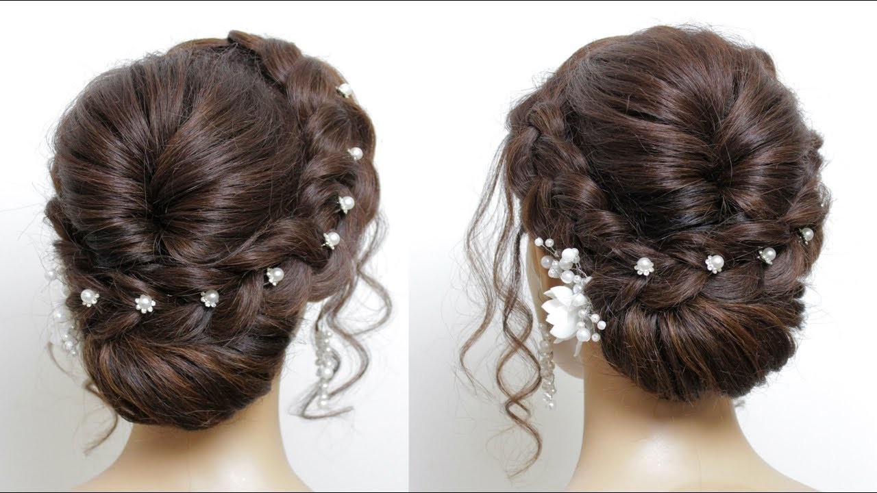 New Easy Bridal Hairstyle For Long Hair Tutorial. Simple Wedding Updo