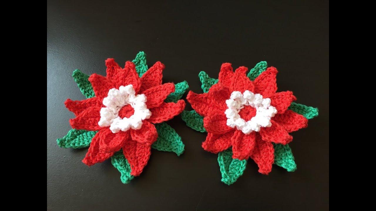 Image Fleur Noel.Tuto Fleur De Noel Au Crochet Special Gaucher