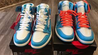 Real Vs Fake UNC Off White Nike Jordan 1 Comparison