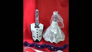 Украшаем шампанское на свадебном столе
