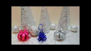 МК Новогодние шары на ёлку из лент