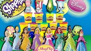 Play Doh Magiclip Princess Dolls Disney Magic Clip Shopkins Play Dough Surprise Toys Hunt Frozen