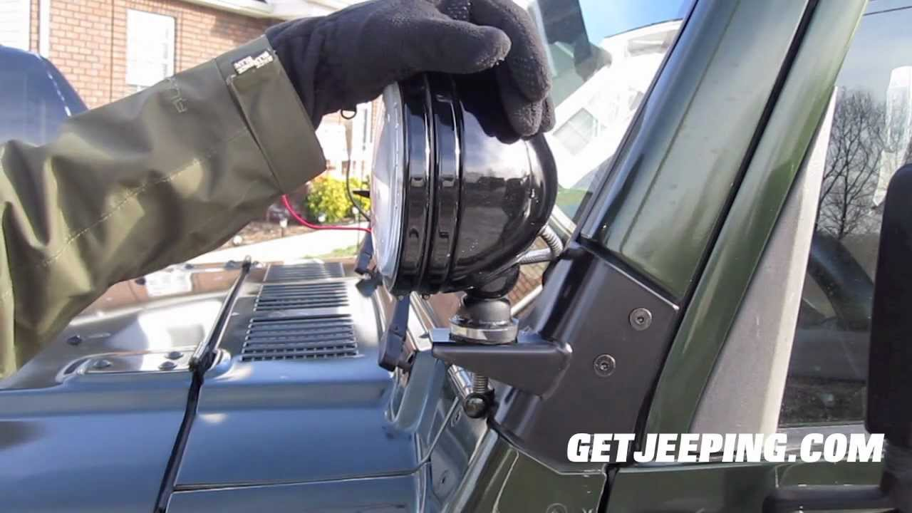 how to  install smittybilt windshield light bracket for
