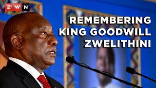 President Cyril Ramaphosa delivered the eulogy at the official memorial service for King Goodwill Zwelithini kaBhekuzulu on 18 March 2021. Ramaphosa said the amaZulu king played a huge role in bringing stability to KwaZulu-Natal at a time when the province was gripped by political violence.