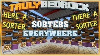Truly Bedrock Season 1 EP26 Item Sorters Everywhere! Minecraft Bedrock Edition SMP (MCPE, MCBE)
