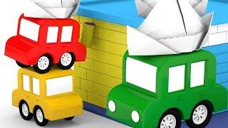 Мультики для детей - 4 машинки красят дома - Новые серии