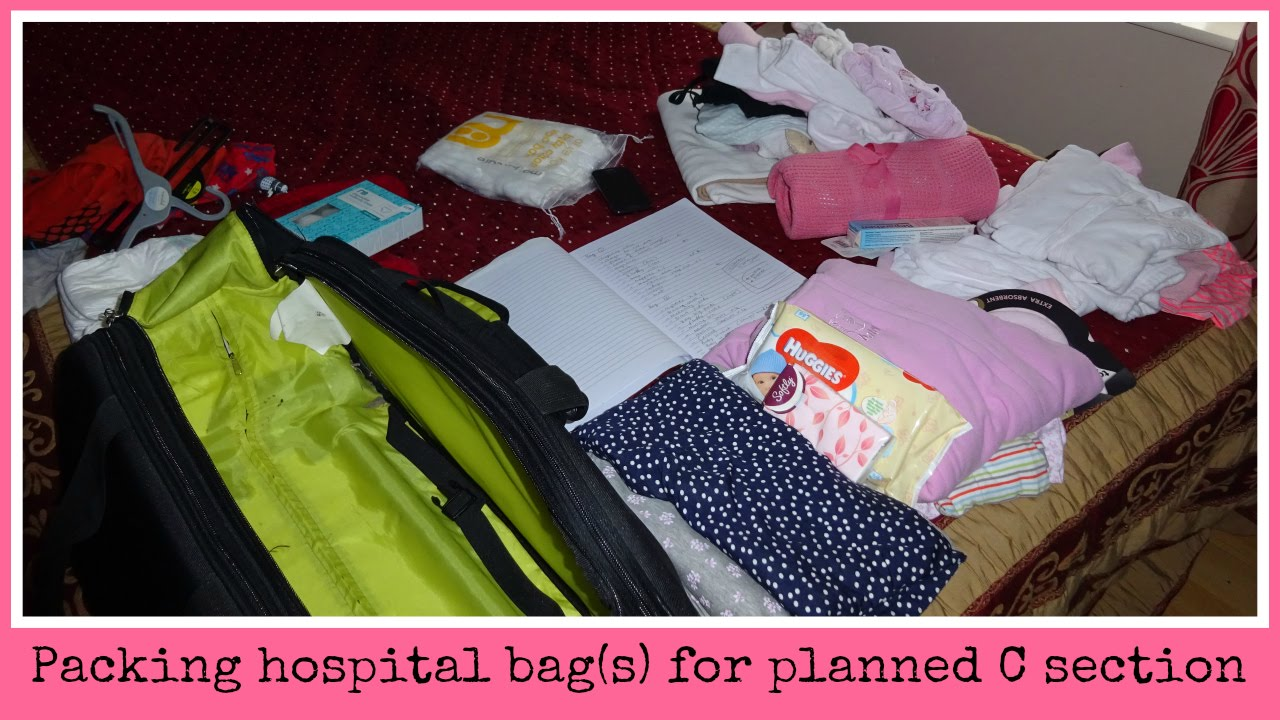 Packing My Hospital Bags For A C Section - YouTube