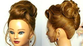 Вечерняя прическа для средних волос. Бабетта с ракушкой