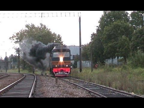 Тепловоз ТЭП70-0202 отправляет от Таллин-Вяйке / TEP70-0202 Departing From Tallinn-Väike Depot