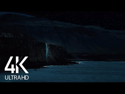 Waterfall and Ocean Waves Sounds for Sleep - 4K Icelandic Coastline - 8 HOURS Dark Version - Part #5