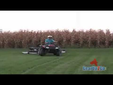Finish Cut Mowers in tandem behind an ATV.