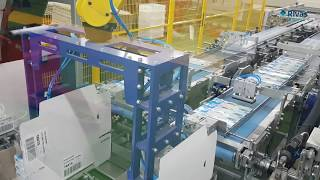 Video: Encajado automático con sistema Wrap Around // Automatic Wrap Around case packer machine
