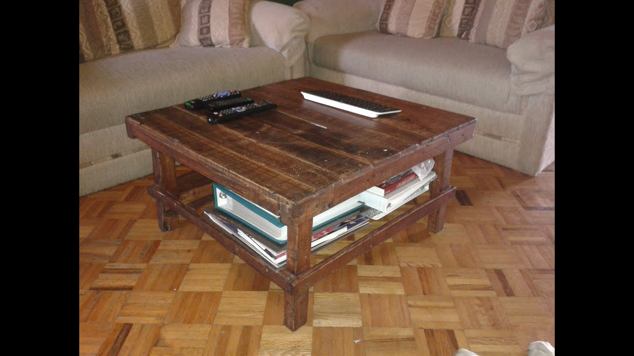 Diy recycled pallet coffee table for my tv room youtube geotapseo Image collections