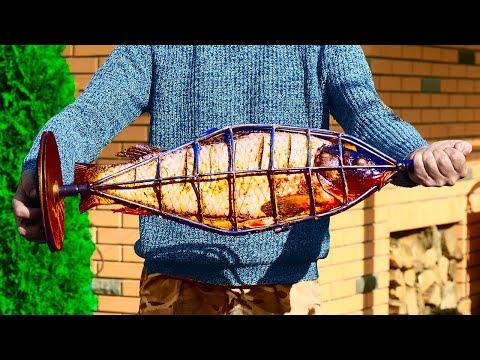 Мы приготовили рыбу  на углях с помощью необычной конструкции - Видео онлайн
