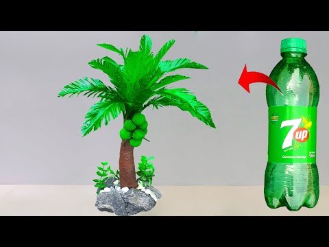 Plastic Bottle Coconut Tree Easy Making // Best Out of Waste Recycled Craft Ideas