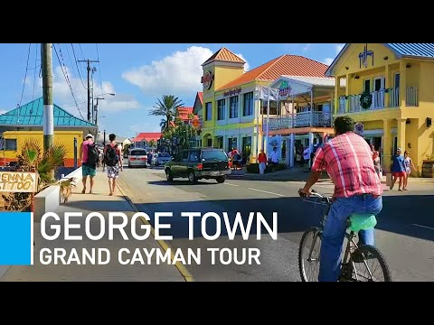 Grand Cayman Walking Tour - George Town & cruise port in winter. Journey to the Cayman Islands.