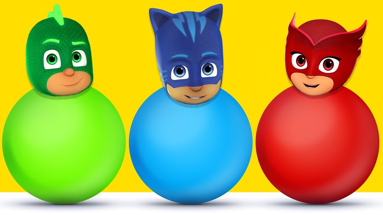 Pj Masks Wrong Heads, Learn Colors with Balls of Pj Masks