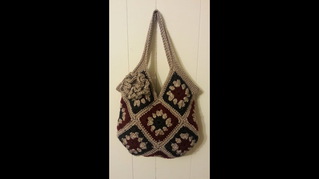 How To #Crochet 13 square granny square Handbag Purse #TUTORIAL ...