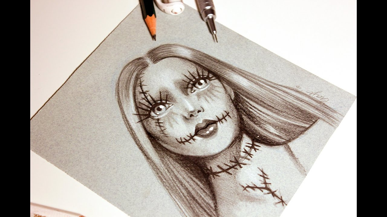 sally speed drawing nightmare before christmas pencil sketch for halloween