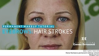 Permanent makeup tutorial: hair strokes / Мастер класс по татуажу: волоски