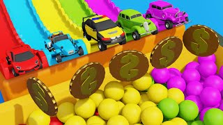 Toys Super Cars Coloring in Color Sliding Tracks Pretend Play Videos For Kids