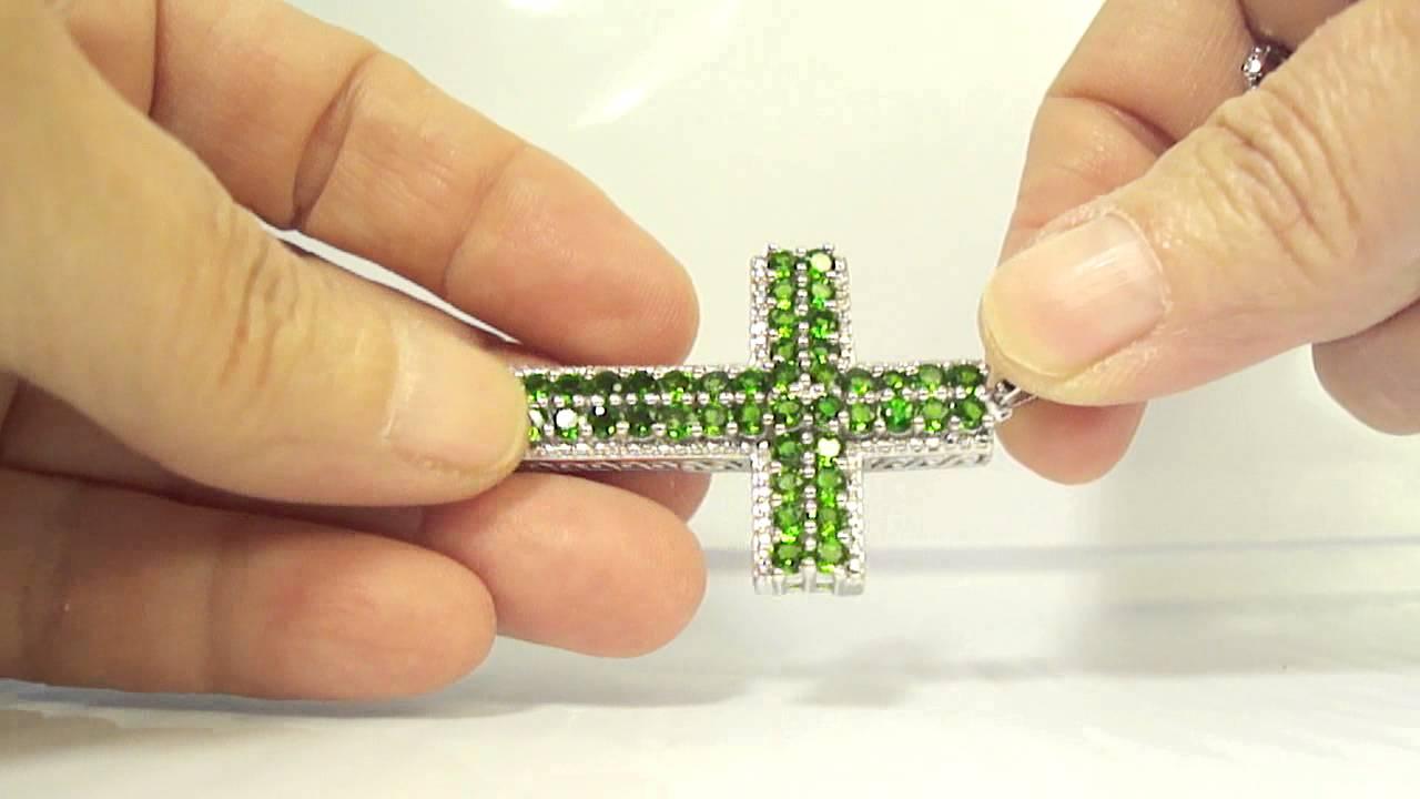 Russian chrome diopside diamond cross pendant with chain in russian chrome diopside diamond cross pendant with chain in platinum overlay sterling silver aloadofball Image collections