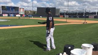 Yankees' Miguel Andujar bounces baseball off bat