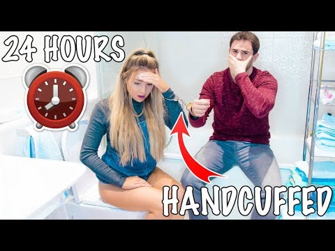 24 HOURS HANDCUFFED TO MY BOYFRIEND !! (I Needed To Use The Toilet)