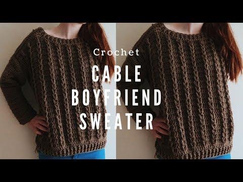 Crochet Cable Boyfriend Sweater Sizes S-5XL