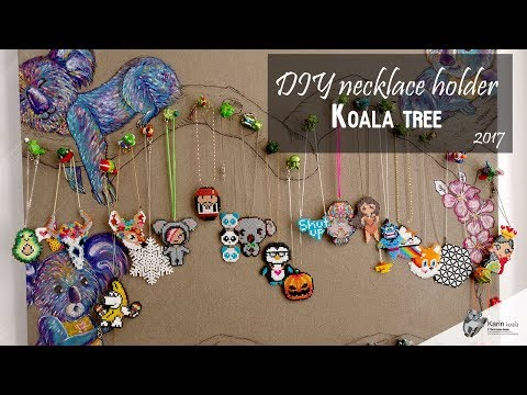 DIY necklace holder from kinder toys | Koala tree drawing on canvas