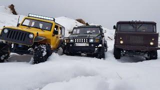 HUMMER и JEEP вытягивают ГАЗ-66 ... ШИШИГА НЕ ВАЛИТ... Scale RC cars OFFROAD