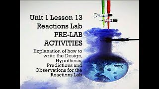 Science 10 Chemical Reactions Lab Pre-Lab